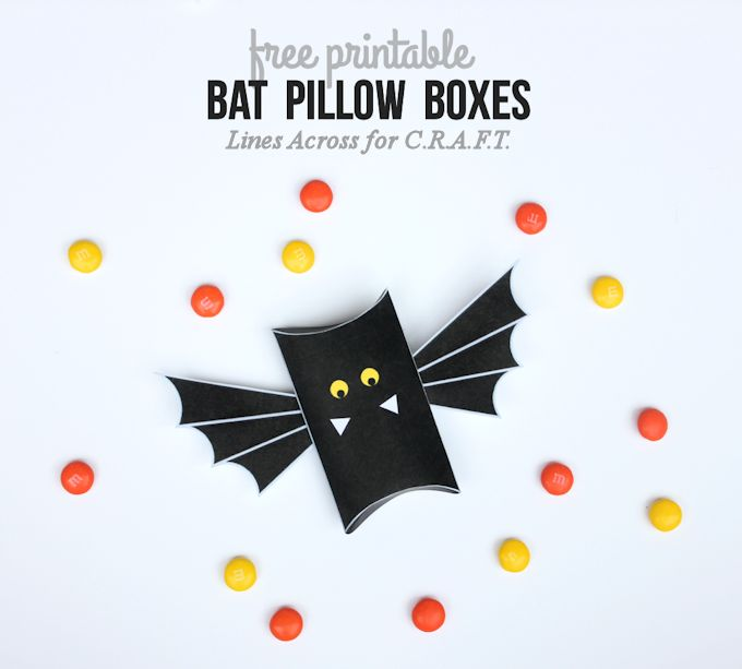 Looking for Halloween Party Ideas? Check out these free printable Bat Pillow Boxes by C.R.A.F.T.!